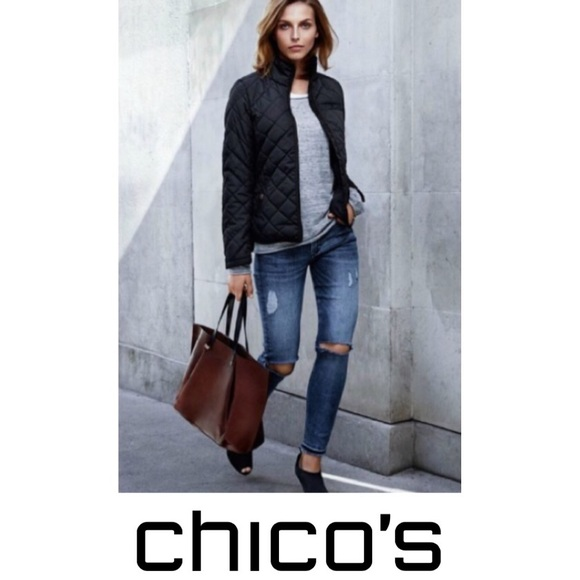 Chico's Jackets & Blazers - Chico's Black Quilted Light Weight Jacket 2
